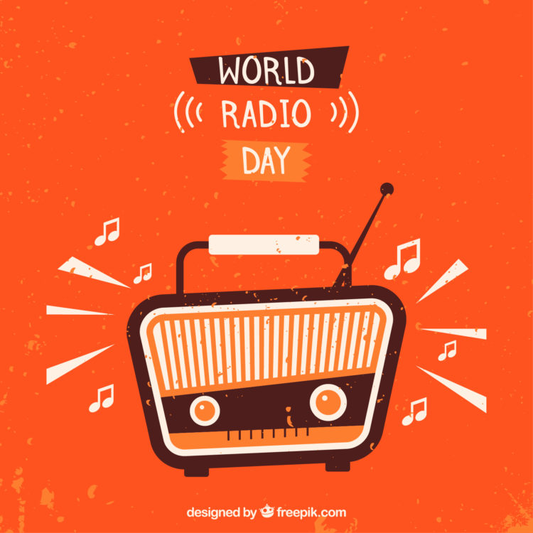 radio graphic on orange background