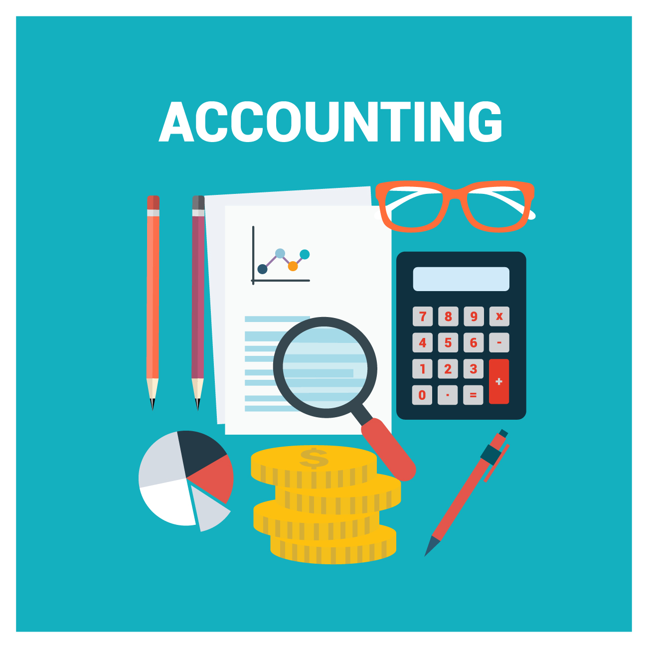 Accountant tools in graphic - greenish background