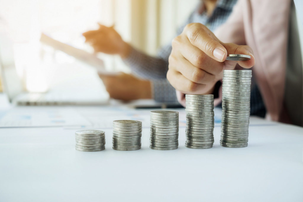 Business concept. Rows of coins for finance and banking concept