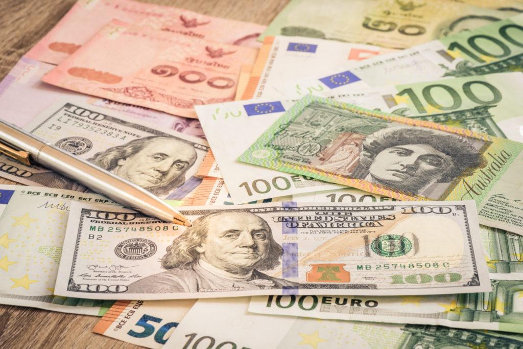 Close-up pen on money