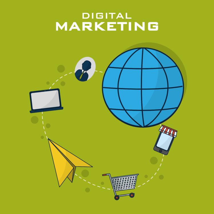 Digital marketing and shopping vector illustration graphic design