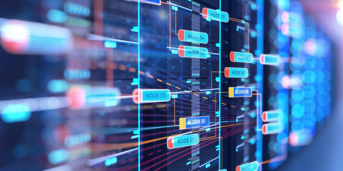 server room 3d illustration with node base programming