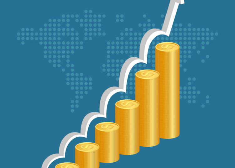 Financial success concept. Stacks of golden coins with graph and world map background. vector illustration.