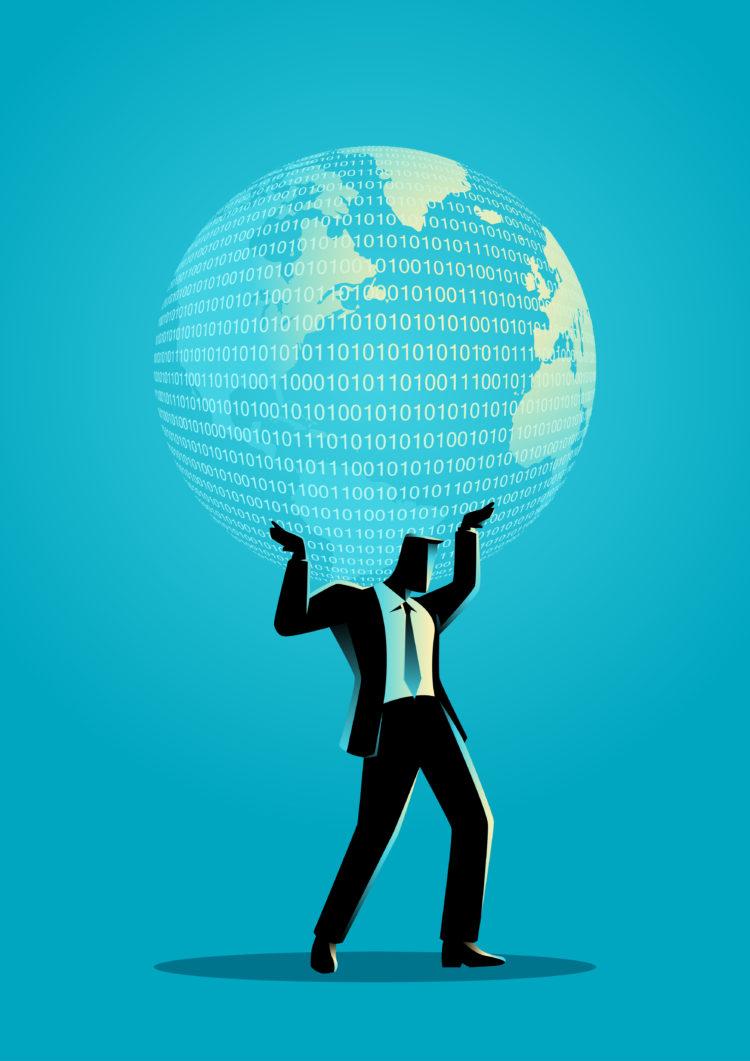 Business concept illustration of a businessman holding a digital globe on his shoulder