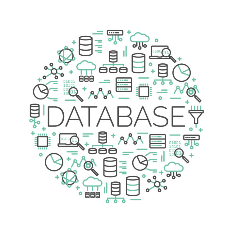 The word Database surrounded by icons of big data, cloud computing, server, network… Vector background illustration.
