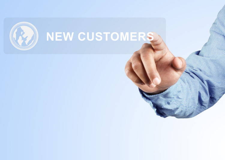 Pressing new customer button blue background