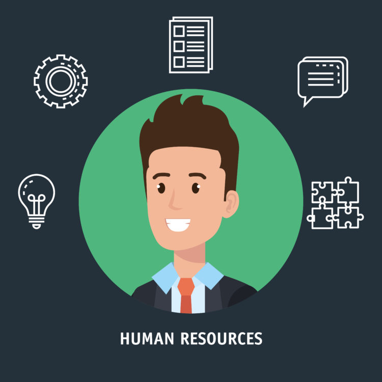 businessman with human resources set icons vector illustration design