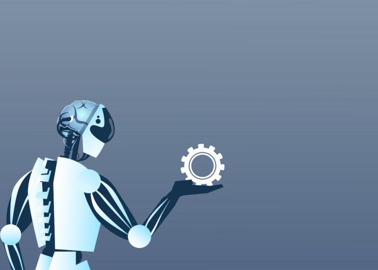 Modern Robot Hold Cog Wheel Artificial Intelligence Technology Flat Vector Illustration