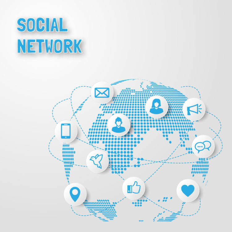 social network technology, digital global connect with icons, vector design