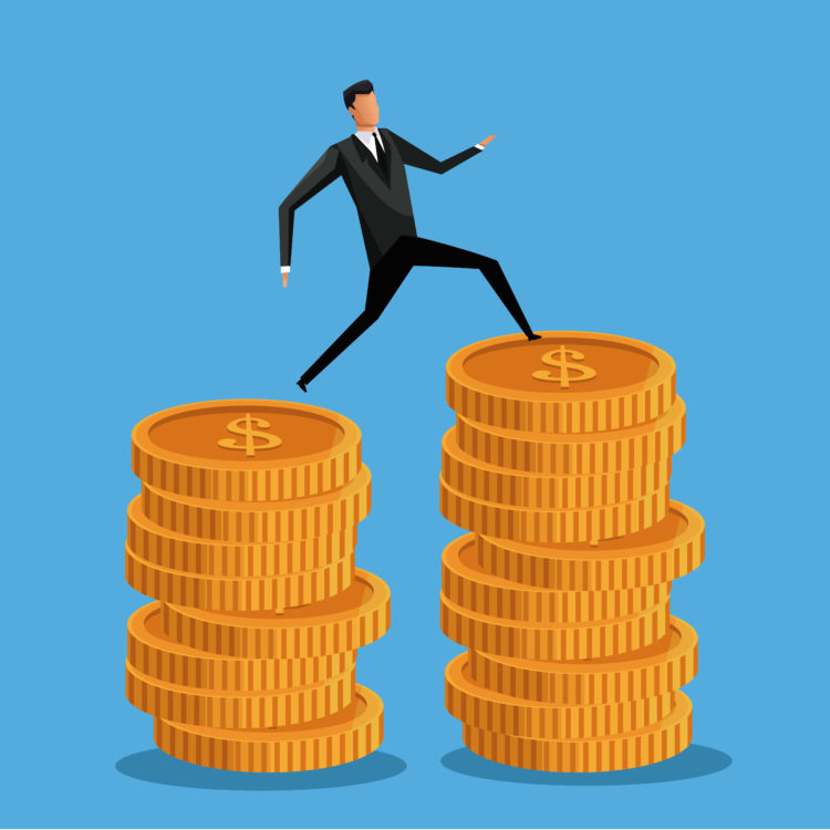Businessman on coins, vector illustration, symbol of dollars.