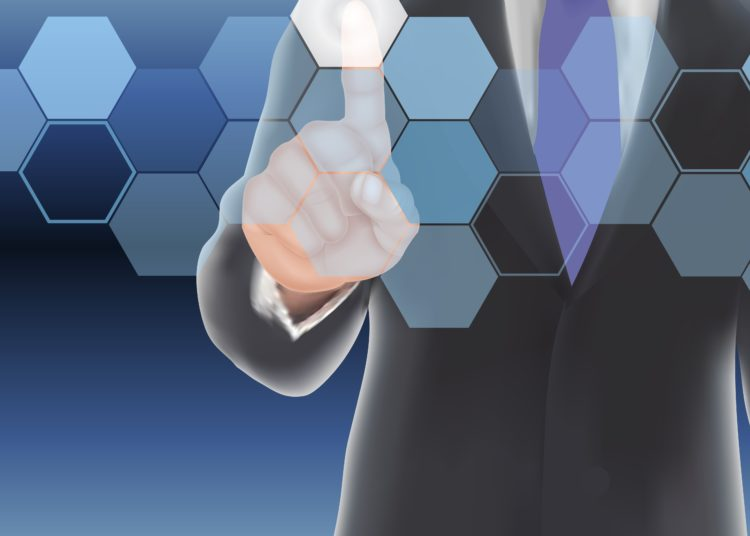 Businessman creating a network