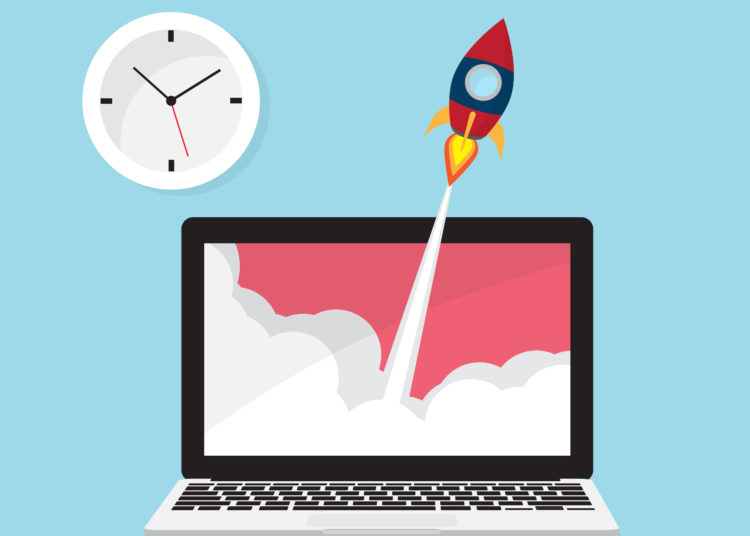 rocket launch from laptop with clock icon vector illustration