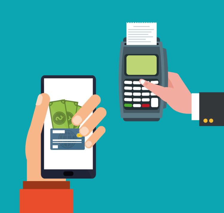 hand holds smartphone dataphone payment online vector illustration eps 10