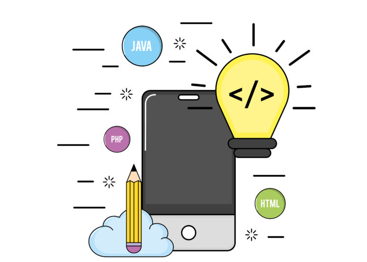 smartphone with web code programming software vector illustration