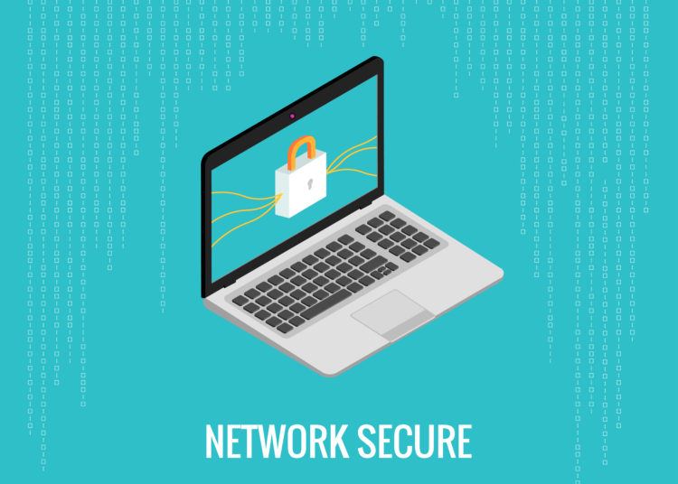 network secure illustration with laptop and lock icon on the digital blue background. Isometric view.