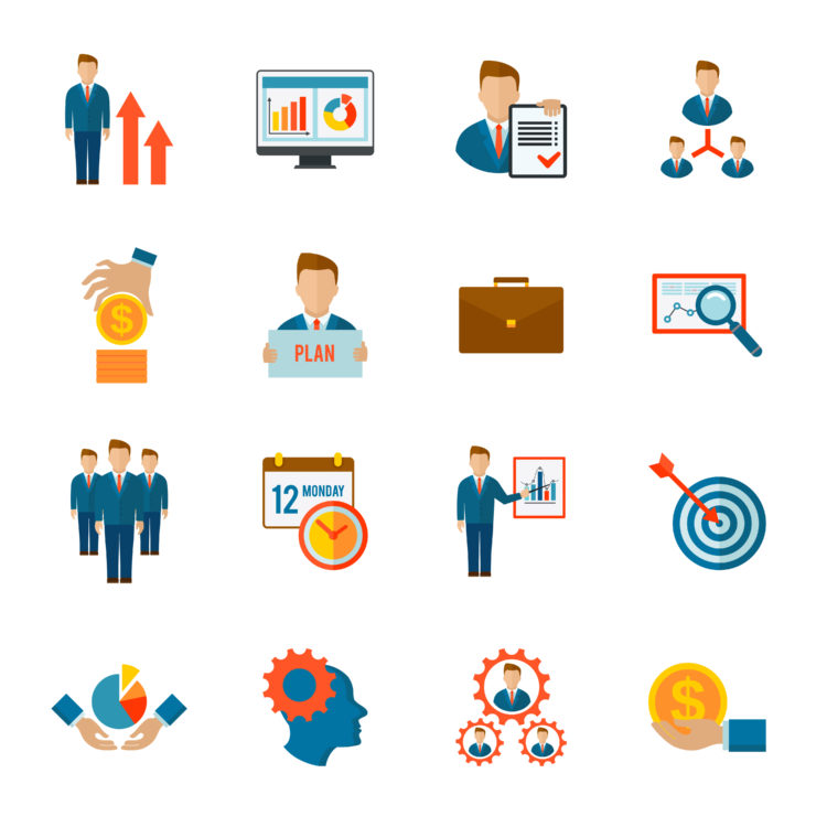 Management company strategy optimization business team icon flat set isolated vector illustration