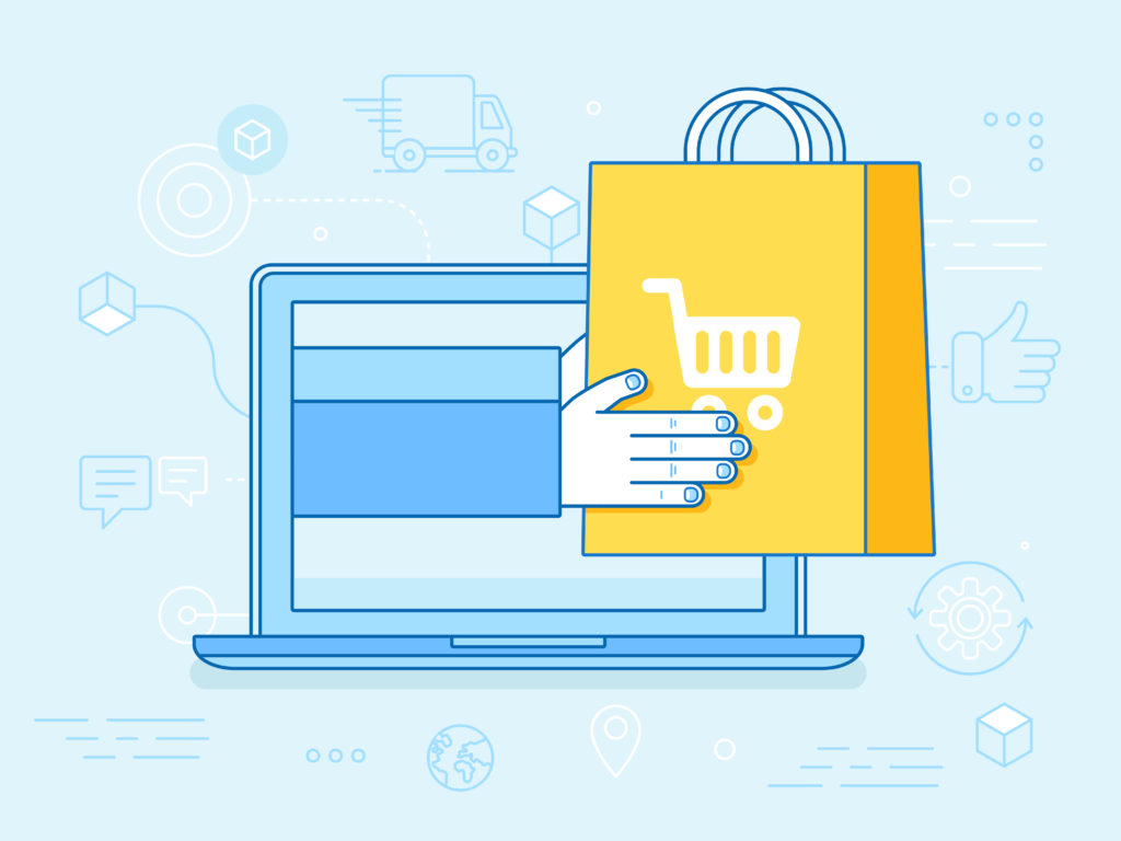 Vector linear illustration and infographics design elements - internet shopping concept - laptop with hands holding shopping bag - fast delivery
